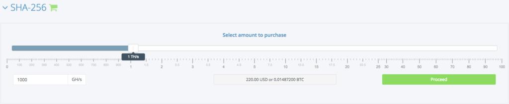 Hashflare - select amount