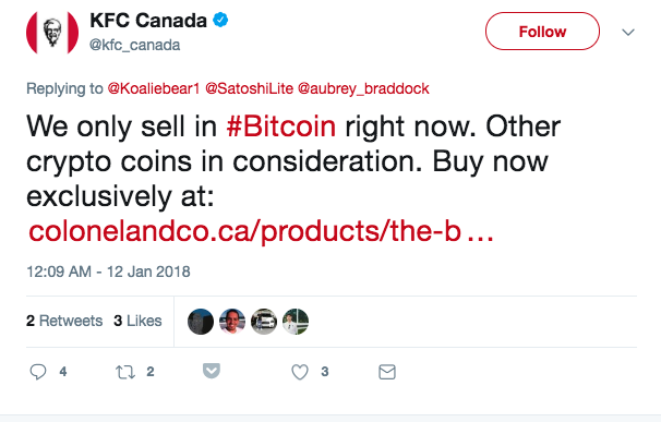 Twitter feed - KFC considering other crypto